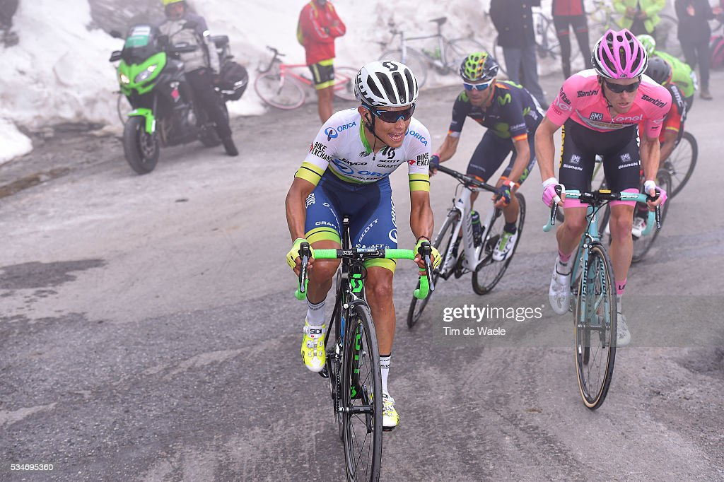 99th Tour of Italy 2016 / Stage 19 Johan Esteban CHAVES (COL)/ Steven KRUIJSWIJK (NED) Pink Leader Jersey / Alejandro VALVERDE (ESP)/ Colle Dell'Agnello 2744m / Pinerolo - Risoul 1862m (162km)/ Giro /