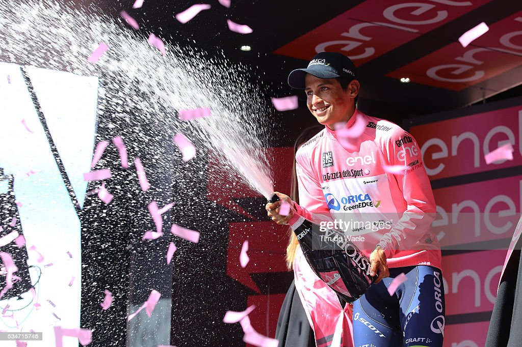 99th Tour of Italy 2016 / Stage 19 Podium / Johan Esteban CHAVES (COL) Pink Leader Jersey / Celebration / Champagne / Pinerolo - Risoul 1862m (162km)/ Giro /