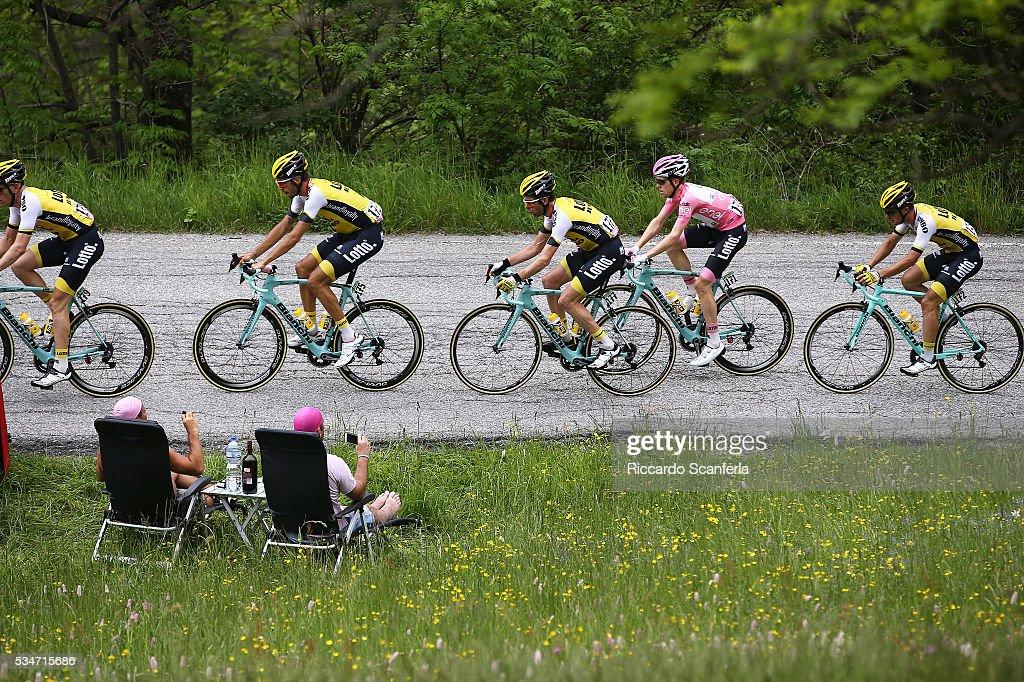 99th Tour of Italy 2016 / Stage 19 Steven KRUIJSWIJK (NED) Pink Leader Jersey / Enrico BATTAGLIN (ITA)/ Bram TANKINK (NED)/ Martijn KEIZER (NED)/ Illustration / Public / Pinerolo - Risoul 1862m (162km)/ Giro /