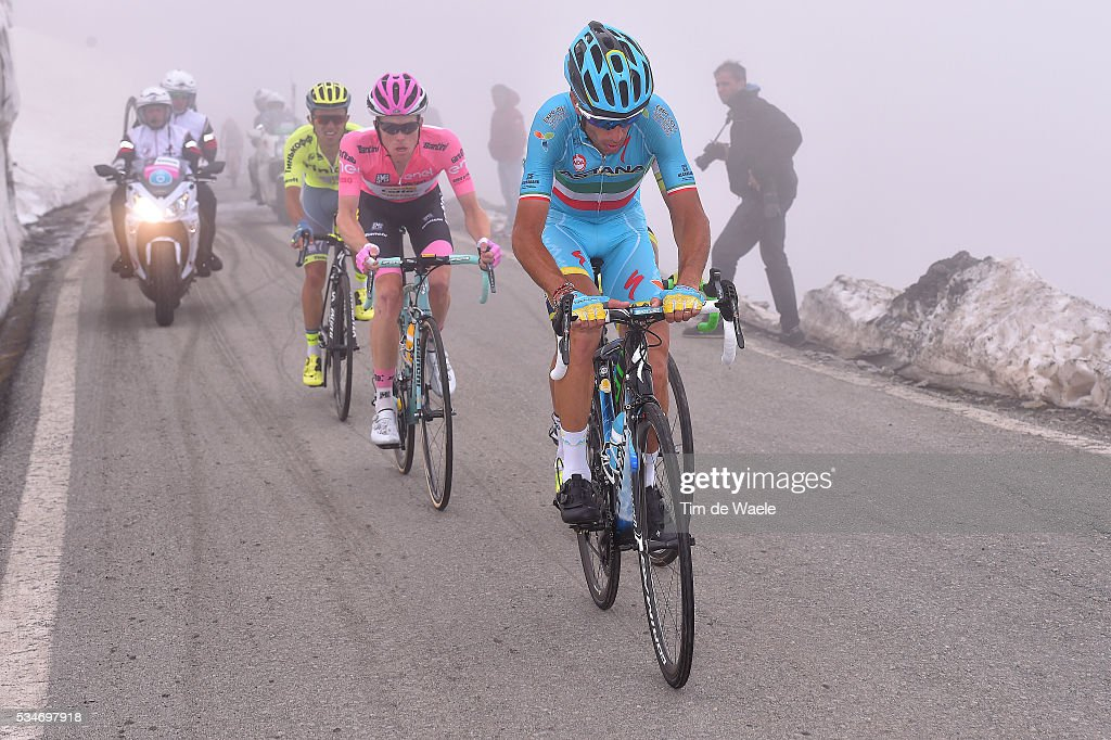 99th Tour of Italy 2016 / Stage 19 Vincenzo NIBALI (ITA)/ Johan Esteban CHAVES (COL)/ Steven KRUIJSWIJK (NED) Pink Leader Jersey / Colle Dell'Agnello 2744m / Pinerolo - Risoul 1862m (162km)/ Giro /