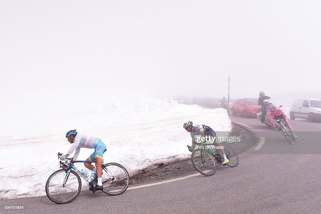 99th Tour of Italy 2016 / Stage 19 Vincenzo NIBALI (ITA)/ Johan Esteban CHAVES (COL)/ Steven KRUIJSWIJK (NED) Pink Leader Jersey / Colle Dell'Agnello 2744m / Pinerolo - Risoul 1862m (162km)/ Giro /