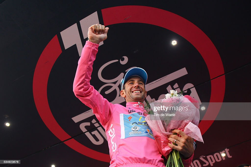 99th Tour of Italy 2016 / Stage 20 Podium / Vincenzo NIBALI (ITA) Pink leader Jersey / Celebration / Guillestre - Sant'Anna Di Vinadio 2015m (134Km)/ Giro /