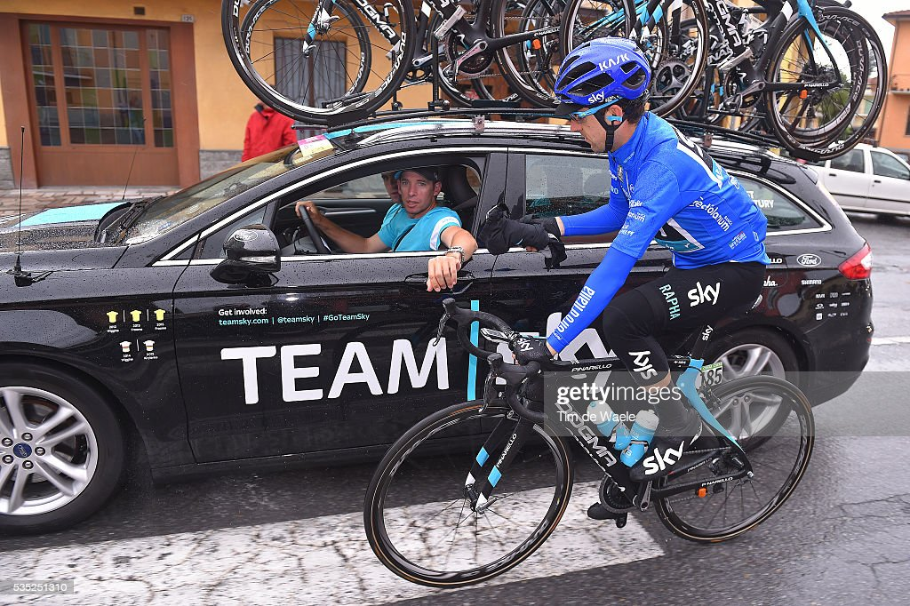 99th Tour of Italy 2016 / Stage 21 Mikel NIEVE ITURRALDE (ESP) Blue Mountain Jersey/ Team SKY (GBR)/ Car / Rain / Cuneo - Torino (163km)/ Giro /