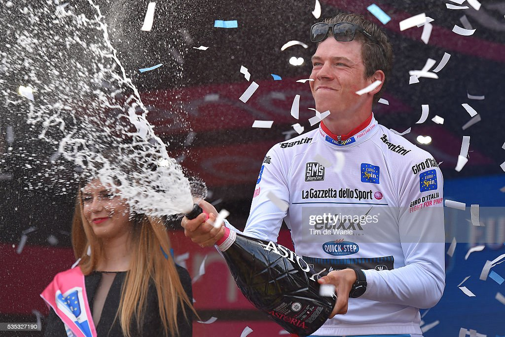 99th Tour of Italy 2016 / Stage 21 Podium / Bob JUNGELS (LUX) White Best Young Jersey / Celebration / Champagne / Cuneo - Torino (163km)/ Giro /