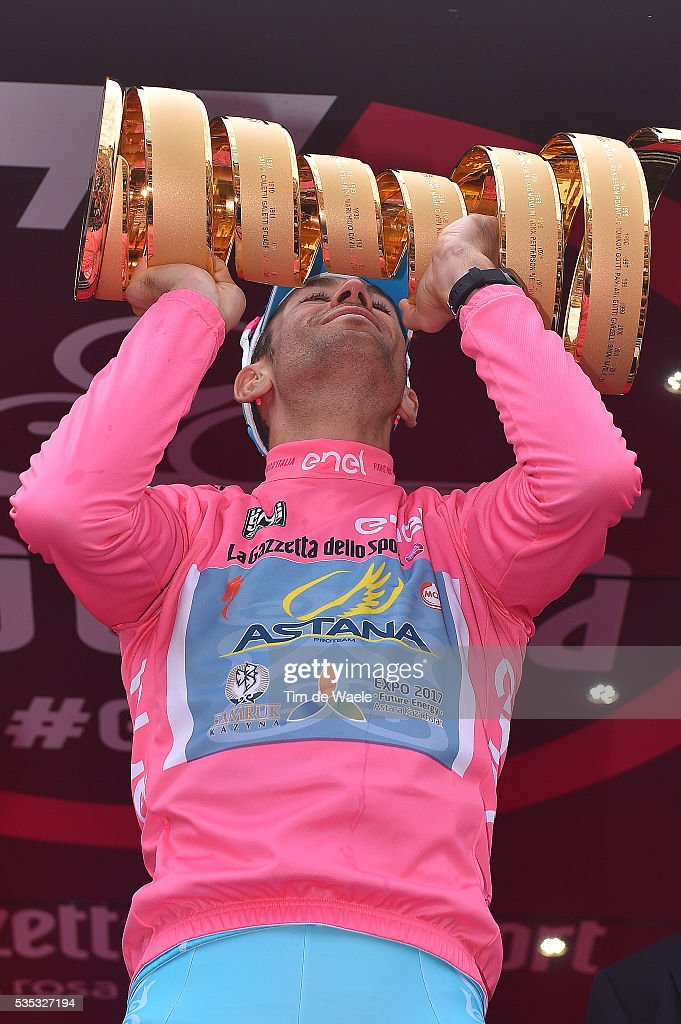 99th Tour of Italy 2016 / Stage 21 Podium / Vincenzo NIBALI (ITA) Pink Leader Jersey / Celebration / cup / trophe / Cuneo - Torino (163km)/ Giro /