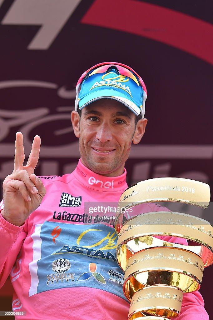 99th Tour of Italy 2016 / Stage 21 Podium / Vincenzo NIBALI (ITA) pink Leader Jersey / Celebration / Trophy / Cuneo - Torino (163Km)/ Giro /