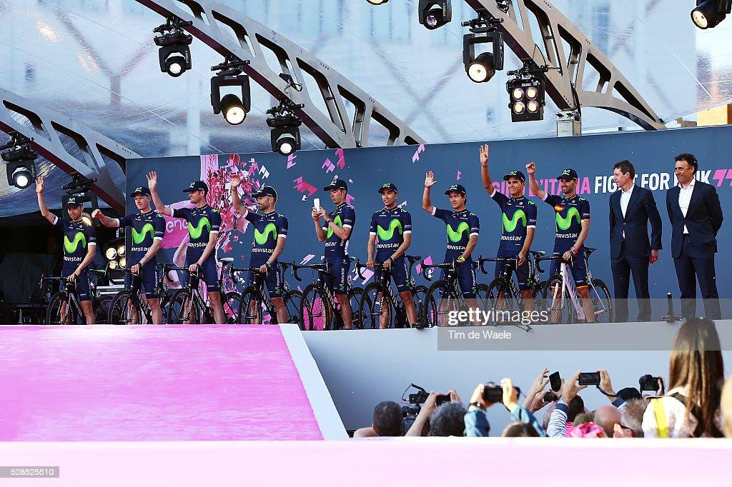 99th Tour of Italy 2016 / Team Presentation Team MOVISTAR TEAM (ESP)/ Alejandro VALVERDE (ESP)/ Andrey AMADOR (CRC)/ Carlos A. BETANCUR (COL)/ Jose HERRADA LOPEZ (ESP)/ Javier MORENO (ESP)/ Jose Joaquin ROJAS GIL (ESP)/ Rory SUTHERLAND (AUS)/ Jasha SUTTERLIN (GER)/ Giovanni VISCONTI (ITA)/ Giro /
