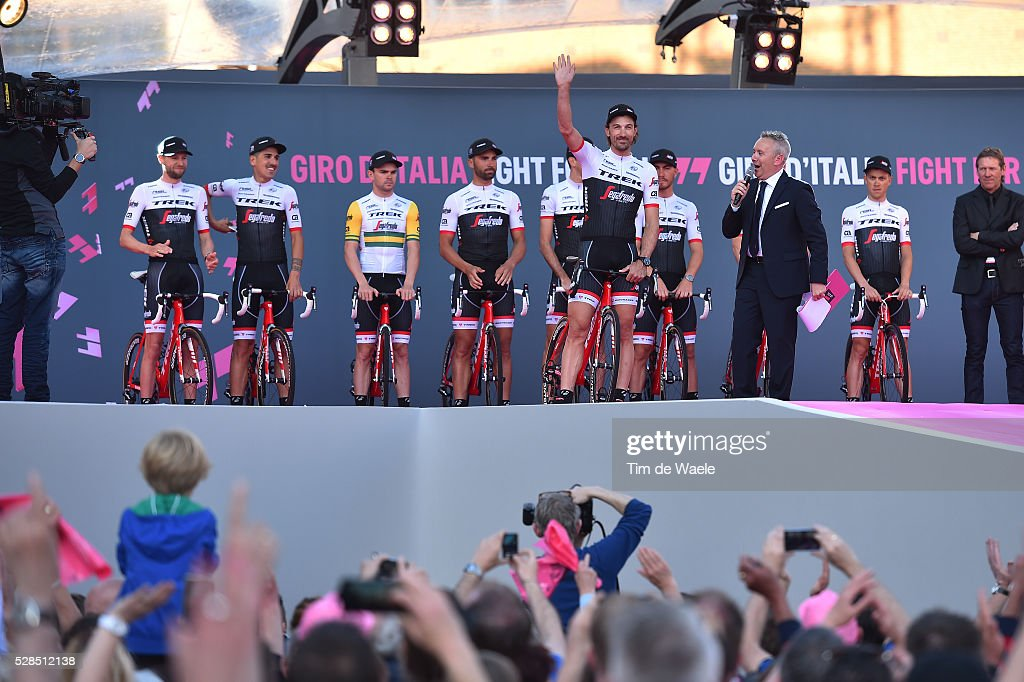 99th Tour of Italy 2016 / Team Presentation Team Trek - Segafredo (Usa)/ Ryder HESJEDAL (CAN)/ Eugenio ALAFACI (ITA)/ Jack BOBRIDGE (AUS)/ Fabian CANCELLARA (SUI)/ Marco COLEDAN (ITA)/ Laurent DIDIER (LUX)/ Giacomo NIZZOLO (ITA)/ Boy VAN POPPEL (NED)/ Riccardo ZOIDL (AUT)/ Giro /