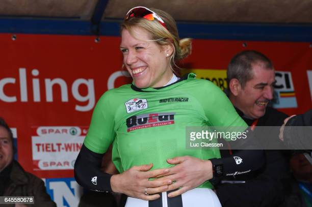 9th Spar Omloop Van Het Hageland / Women Podium / Ellen VAN DIJK / Green Rushes jersey Celebration / Tielt Tielt / Women / Tielt Trophy /