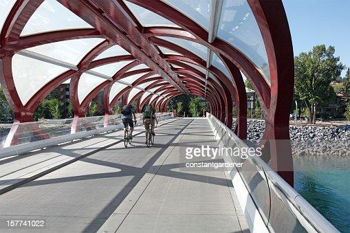 Cycling Across The Peace Bridge Calgary