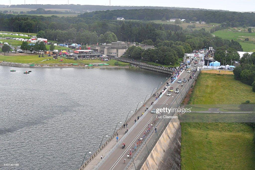 Belgian Road Championship 2016 / Elite Men Illustration / Landscape / Peloton / Lake / Bridge / Lacs de l'Eau d'Heure Lire - Lacs de l'Eau d'Heure Lire (231km) /