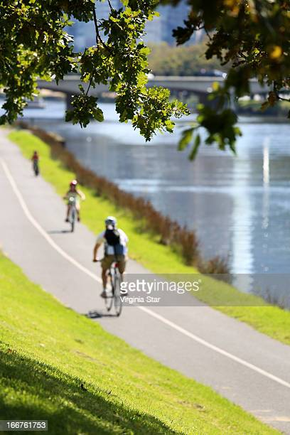Cycling beside the Yarra River in Melbourne