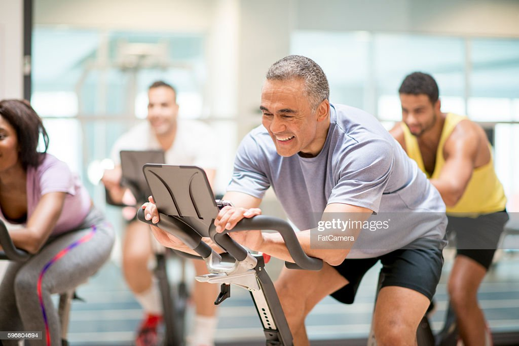 Cycling Class at the Gym : Stock Photo