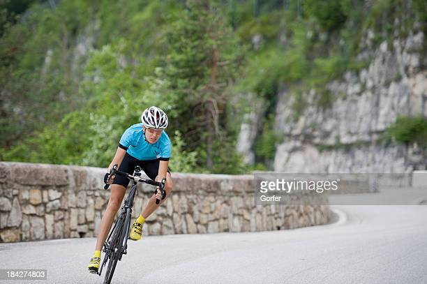 Cycling downhill racing woman