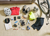 Cycling gear spread out on a lounge floor