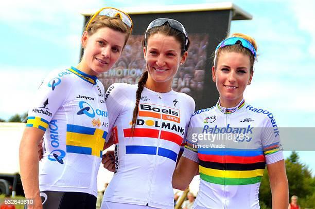 GP de PlouayBretagne 2015 Podium/ JOHANSSON Emma / ARMITSTEAD Elizabeth / FERRANDPREVOT Pauline / Celebration Joie Vreugde/ Plouay Plouay / Tim De...
