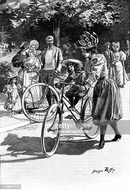 Cycling Lady in 'Rational' cycling dress of knickerbockers and gaiters giving small daughter a ride on the saddle French illustration c1890