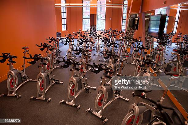 Cycling machines are shown in of of the three group exercise studios at the YMCA Anthony Bowen on August 30 2013 in Washington DC The new YMCA at...