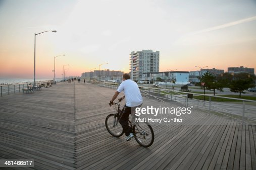 Cycling on Rockaways' boardwalk