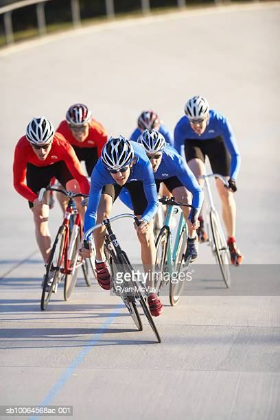 Cycling race on velodrome track