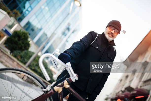 Cycling senior man