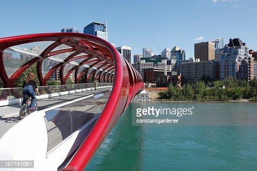 Cycling The Peace Bridge To Corporate Calgary