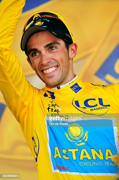 'Cycling Tour de France 2009 / Stage 15 podium / CONTADOR Alberto Yellow Jersey / Celebration Joie Vreugde / Gele Trui Maillot Jaune / Pontarlier...
