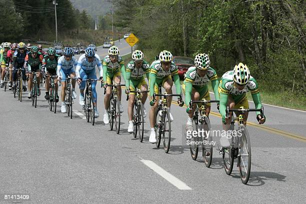 Cycling Tour de Georgia Phonak Team in action leading peloton and riding from Gainesville to Brasstown Bald Mountain during stage 5 GA 4/23/2005