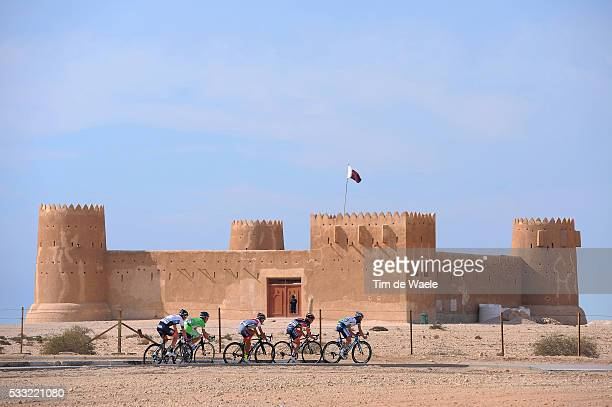 Tour of Qatar 2013 / Stage 5 Illustration Illustratie / AL ZUBARA Fort Chateau Castle Kasteel / Dessert Woestijn / Martin ELMIGER / Sergey LAGUTIN /...