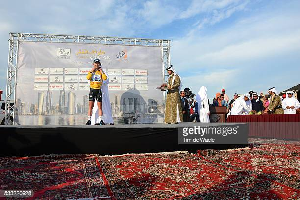 Tour of Qatar 2013 / Stage 5 Podium / Mark CAVENDISH Yellow Jersey Celebration Joie Vreugde / Al Zubara Fort Madinat Al Shamal / Ronde Etape Rit /Tim...