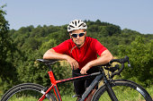 Cyclist, 44 years, with a racing cycle, Winterbach, Baden-Wurttemberg, Germany