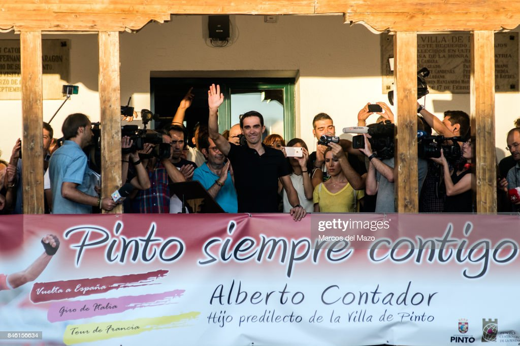 Cyclist Alberto Contador during his tribute in his hometown. Alberto Contador will retire from professional cycling.