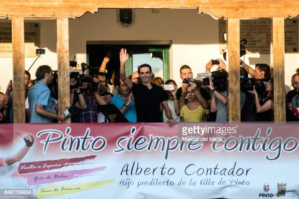 Cyclist Alberto Contador during his tribute in his hometown Alberto Contador will retire from professional cycling