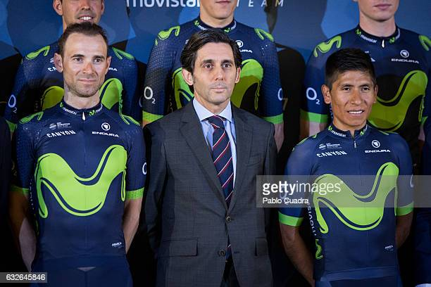 Cyclist Alejandro Valverde Jose Maria AlvarezPallete and cyclist Nairo Quintana attend the Cycling Movistar Team Presentation at Telefonica...