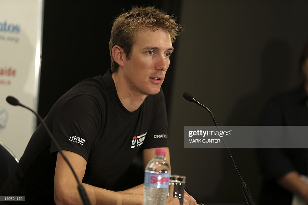 Cyclist Andy Schleck from Luxemburg talks at a press conference prior to the Tour Down Under in Adelaide, on January 19, 2013. The Tour Down Under runs from 20-27 January 2013. IMAGE STRICTLY RESTRICTED TO EDITORIAL USE - STRICTLY NO COMMERCIAL USE AFP PHOTO / Mark Gunter