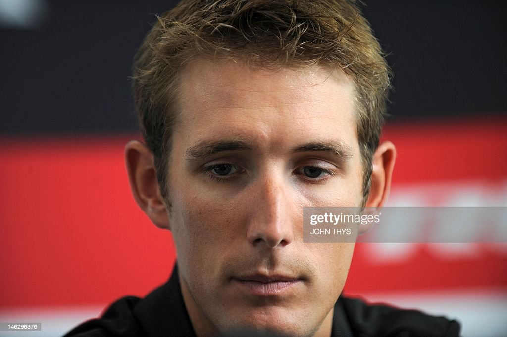 Cyclist Andy Schleck of Luxembourg reacts during a press conference in Strassen on June 13, 2012. The Yellow jersey contender Andy Schleck has pulled out of this year's Tour de France due to injuries suffered in last week's Criterium du Dauphine race.
