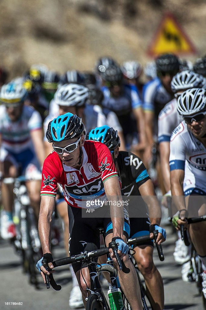 UK cyclist Christopher Froome (C) of Sky Procycling team rides during the sixth and last stage of the Tour of Oman, on February 16, 2013, in Oman. The final stage was a 144km ride from Hawit Nagam park in the south of the emirate to Muscat along the Matrah corniche.