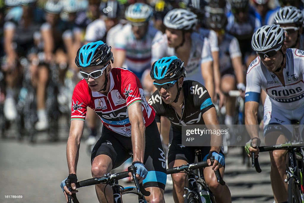 UK cyclist Christopher Froome (L) of Sky Procycling team rides during the sixth and last stage of the Tour of Oman, on February 16, 2013, in Oman. The final stage was a 144km ride from Hawit Nagam park in the south of the emirate to Muscat along the Matrah corniche.