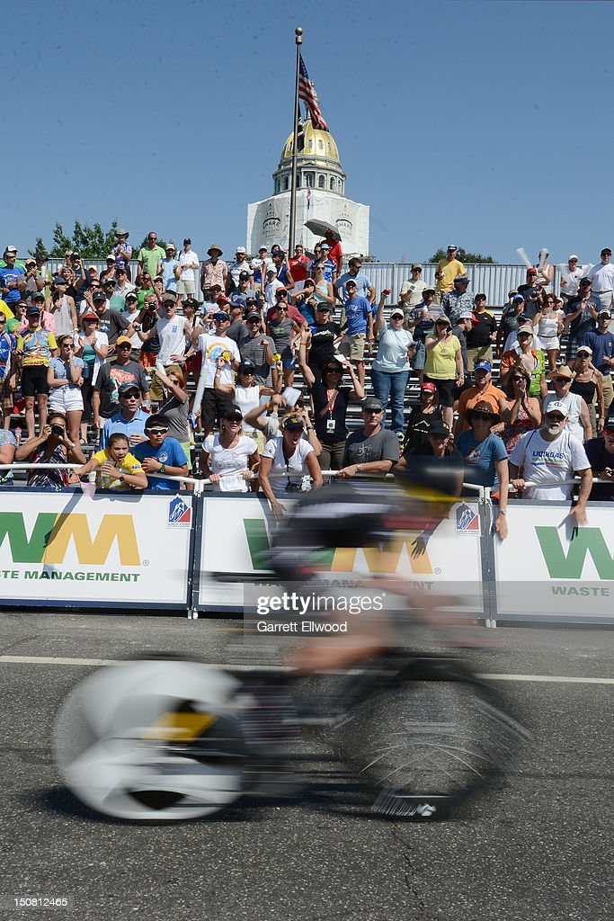 A cyclist competes in the individual time trial during stage seven of the USA Pro Challenge on August 26, 2012 in Denver, Colorado.