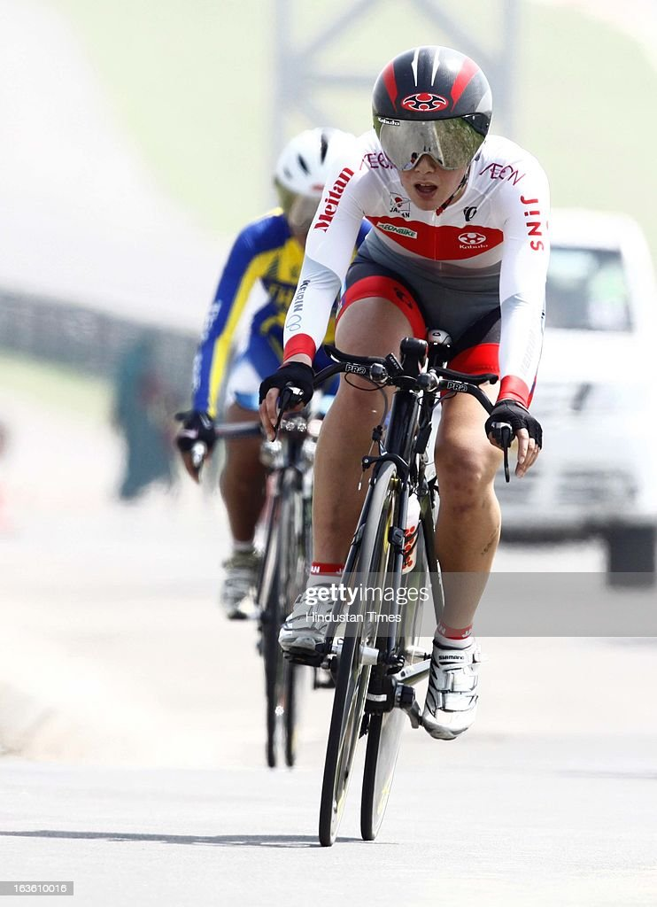 Cyclist during the Individual Time Trial- Women Elite final for the Asian Cycling Championship Road Race at the Buddh International Circuit on March 13, 2013 at Greater Noida, India.
