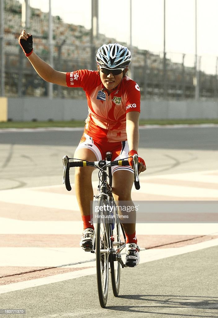 Cyclist from Hong Kong Kong Yan Pui wins Gold Medal in the Individual Road Race –Women Junior for the Asian Cycling Championship Road Race at the Buddh International Circuit on March 15, 2013 in Greater Noida, India.