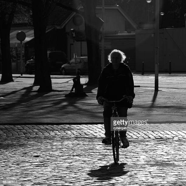Cyclist in backlight