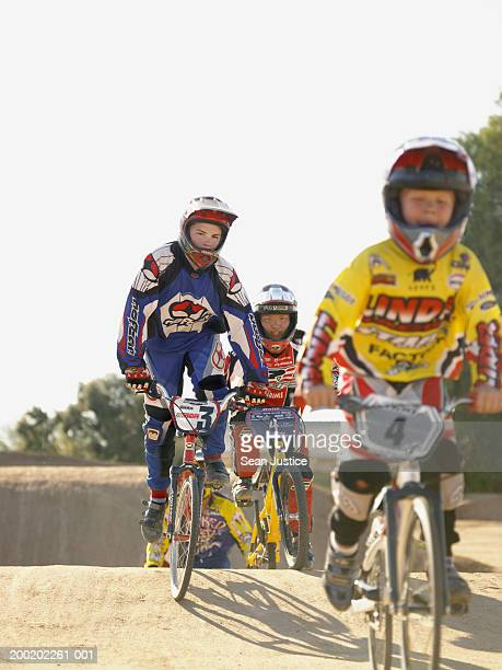 BMX cyclist in competition on track