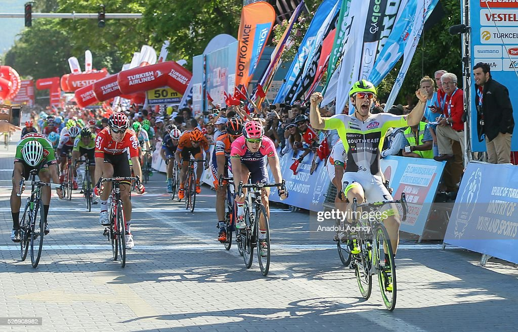 Cyclist Jakub Mareczko finishes the tour in first place during the final stage of 201,7 kilometers long Marmaris - Selcuk lap of the 52nd Presidential Cycling Tour of Turkey in Izmir, Turkey on May 1, 2016.