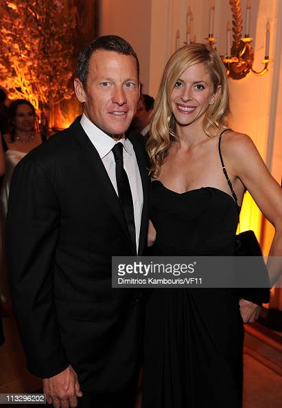 Cyclist Lance Armstrong and Anna Hansen attend the Bloomberg Vanity Fair cocktail reception following the 2011 White House Correspondents'...