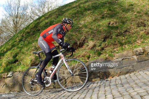 US cyclist Lance Armstrong of the Radioshack team rides during an exploration training on April 1 2010 ahead of the 94rd edition of the oneday...