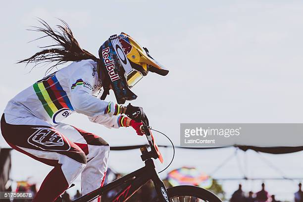 BMX cyclist Mariana Pajon of Colombia competes in Time Trial Event during the UCI BMX Super Cross World Cup on March 25 2016 in Santiago del Estero...