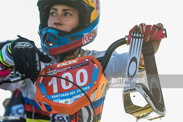 BMX cyclist Mariana Pajon of Colombia looks during the Time Trial event during the UCI BMX Super Cross World Cup on March 25 2016 in Santiago del...