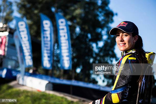 BMX cyclist Mariana Pajon of Colombia smiles to the camera during round of the UCI BMX Super Cross World Cup on March 26 2016 in Santiago del Estero...