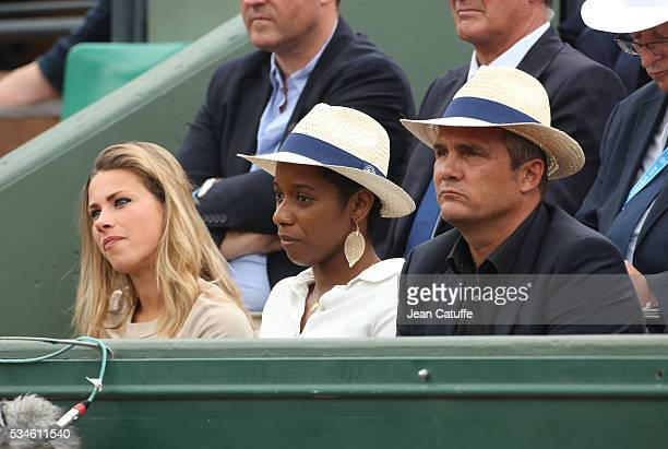 Cyclist Marion Rousse swimmer Malia Metella cyclist Richard Virenque attend day 5 of the 2016 French Open held at RolandGarros stadium on May 26 2016...